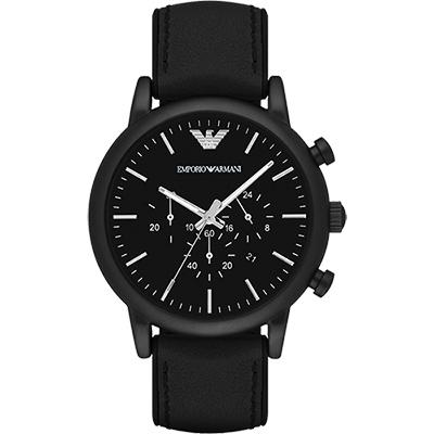 Emporio Armani Classic 都會計時石英腕錶-黑/46mm