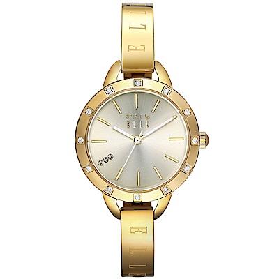 ELLE 閃耀晶鑽時尚手錶-金/30mm