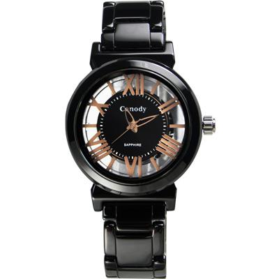 Canody 浮雕時尚 雙鏤空羅馬陶瓷腕錶-黑x玫瑰金針/35mm
