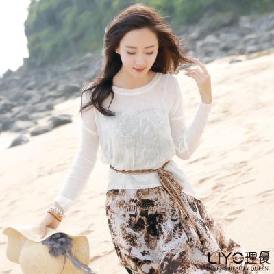 LIYO理優韓風圓領針織衣(白)