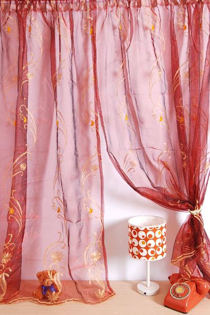 禧藤生活【華麗紅舞】珍珠紗穿掛兩用窗簾180X165