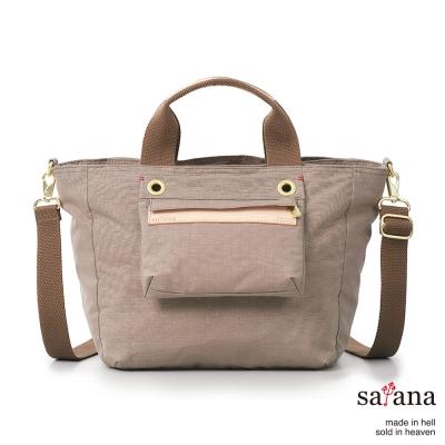 satana-多隔層手提包-斜背包-松樹皮