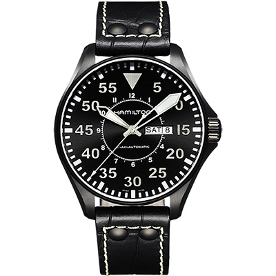 Hamilton KHAKI AVIATION 飛航運動玩家機械腕錶-黑/46mm