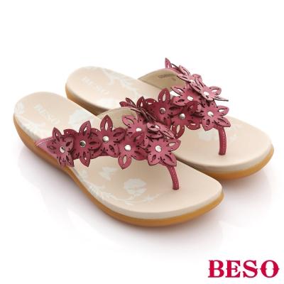 BESO-摩登部落-牛皮雕花串Y字涼鞋-桃紅