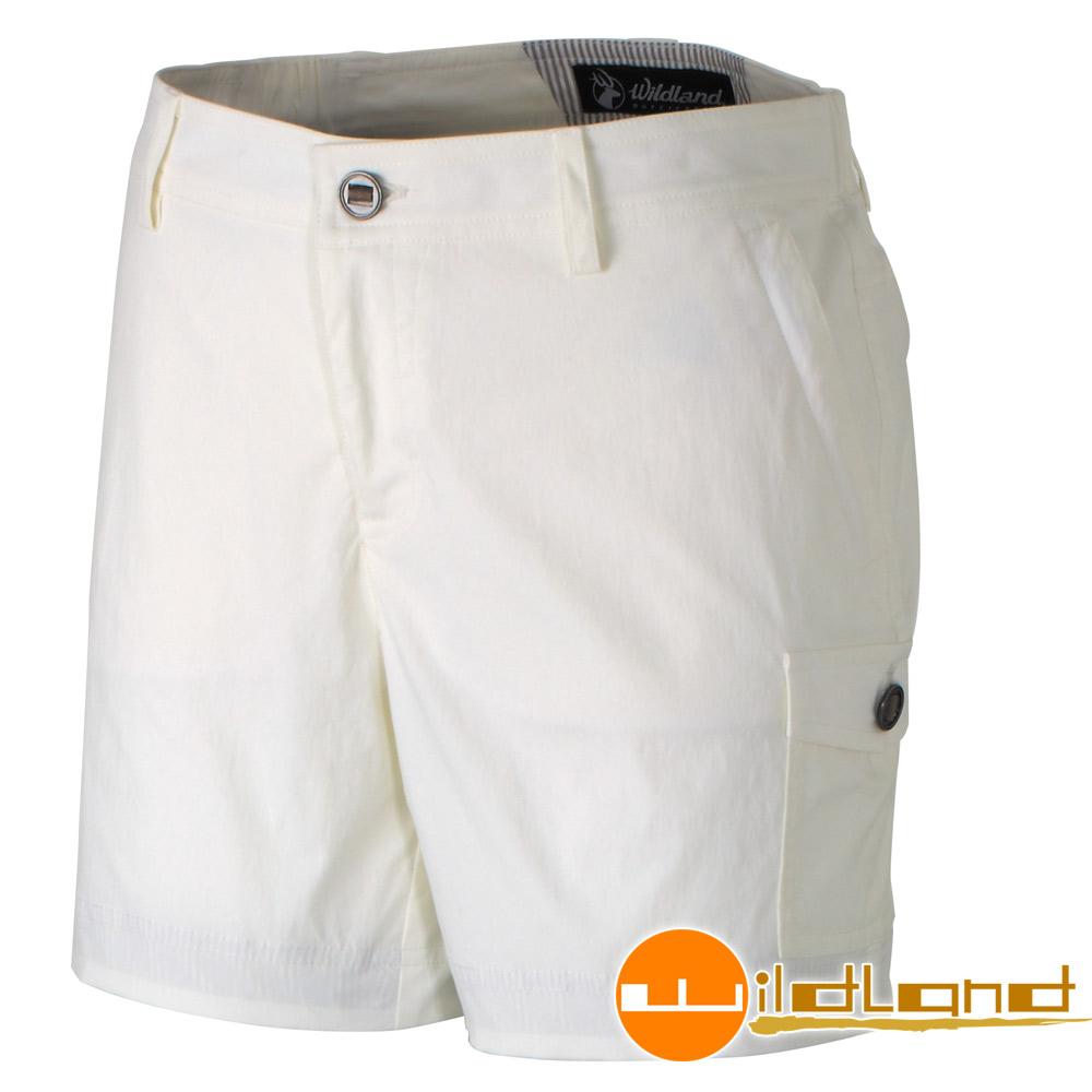 Wildland 荒野 0A31381-81米白色女 彈性抗UV短褲/休閒短褲
