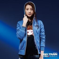 BIG TRAIN 迷彩貼合厚絨毛裡外套-女-中藍