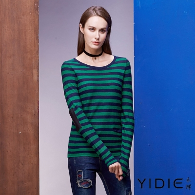 YIDIE衣蝶 羊毛條紋口袋造型上衣-綠