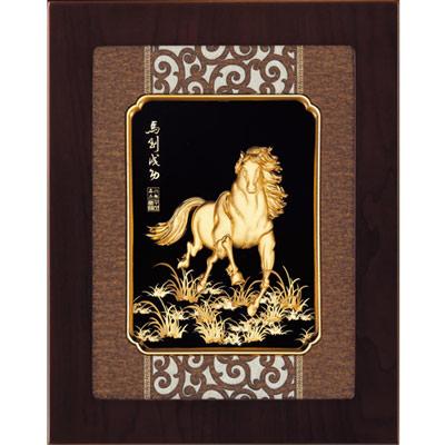 開運陶源 金箔畫 純金 *古典中國風系列*【馬到成功】...27x34cm