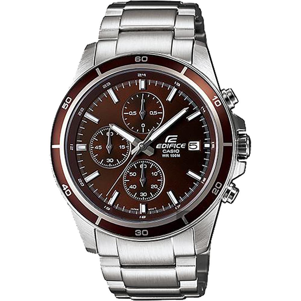 CASIO 卡西歐 EDIFICE 標準賽車手錶-咖啡x銀/48.5mm