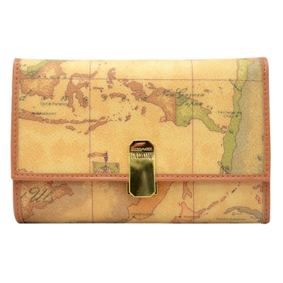 Alviero Martini 義大利地圖包 夾式10卡零錢中長夾-地圖黃