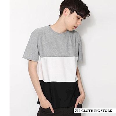 三段拼接條紋TEE(4色) ZIP日本男裝