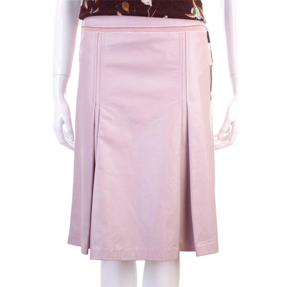 PELLESSIMO 粉色抓摺皮質及膝裙