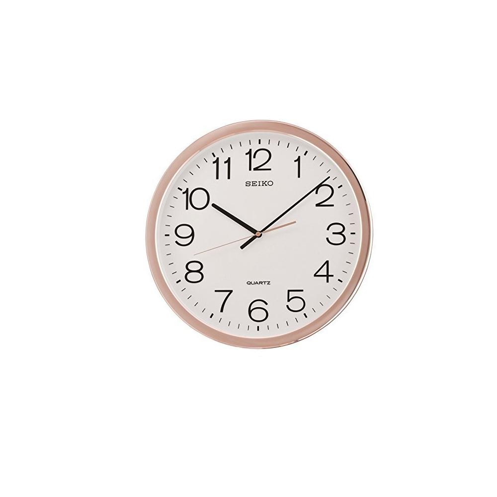 SEIKO 精工 滑動式秒針 靜音掛鐘(QXA620P)-玫瑰金框X白/40cm