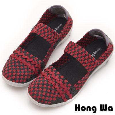 Hong Wa 休閒運動風手工一字帶編織撞色包鞋 - 紅