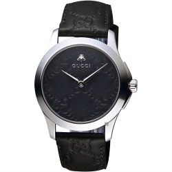 GUCCI古馳 G-TIMELESS 蜜蜂手錶-黑/39mm
