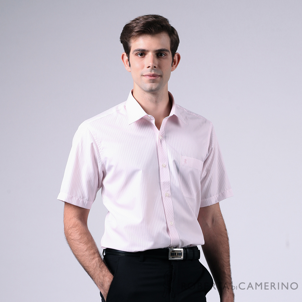 ROBERTA諾貝達 台灣製 商務型男 條紋緹花短袖襯衫 淺粉