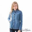 Earl Jean 色織格紋拼接牛仔襯衫-中藍-女