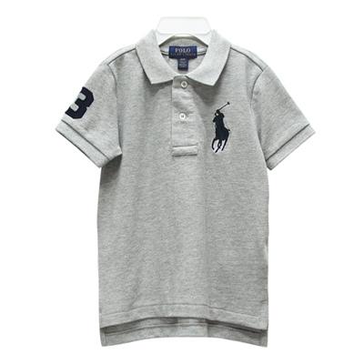 Ralph Lauren 男童數字3經典大馬短袖POLO衫-灰色(2/2T)