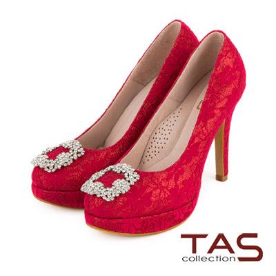 TAS 浪漫蕾絲水鑽飾扣高跟鞋-耀眼紅