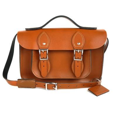 The Leather Satchel 英國手工牛皮劍橋包 肩背手提包 倫敦棕 11吋