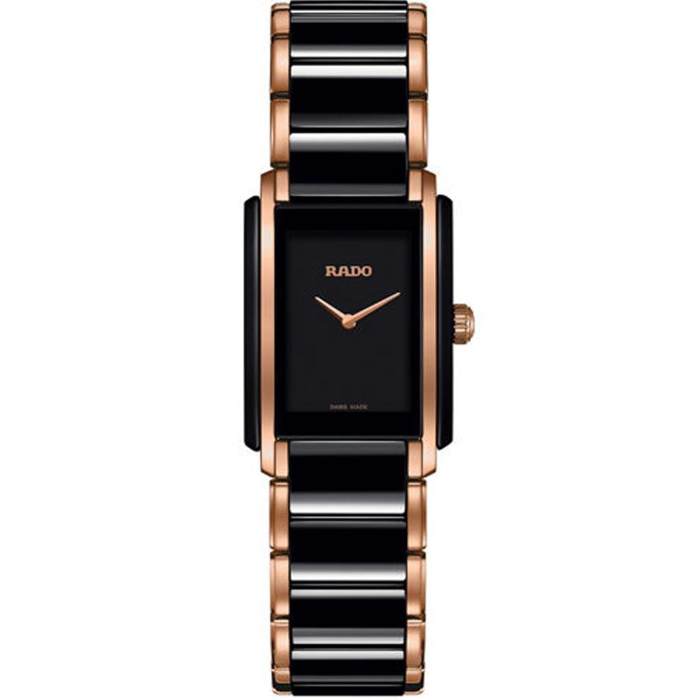 RADO Integral 精密陶瓷系列女錶-黑x玫瑰金色/23x33mm