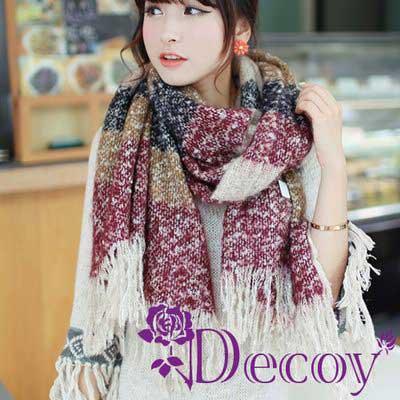 Decoy 渲染流蘇 仿羊毛編織圍巾 四色可選