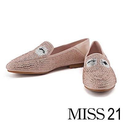 跟鞋 MISS 21 璀璨時尚水鑽大眼造型低跟鞋-粉