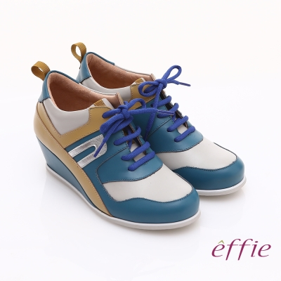 effie 俏麗悠活 金箔羊皮拼接牛皮撞色楔型休閒鞋 藍