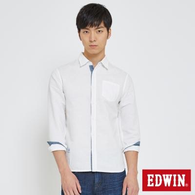 EDWIN 舒適亞麻開襟襯衫-男-白色