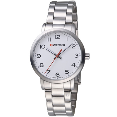 瑞士WENGER Avenue 城市美學時尚腕錶-銀色/35mm