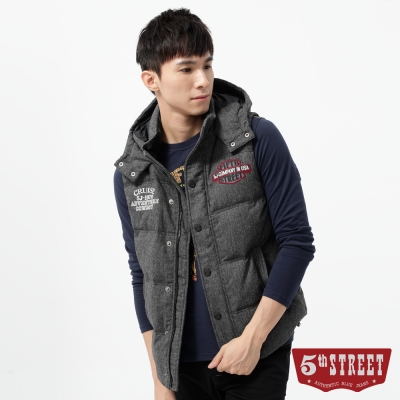 5th-STREET-羽絨-繡花毛料連帽羽絨背心-男-中灰