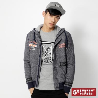 5th STREET 花紗連帽針織外套-男-灰藍色