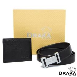 DRAKA 達卡 - 黃金禮盒 真皮皮夾+紳士皮帶-8363