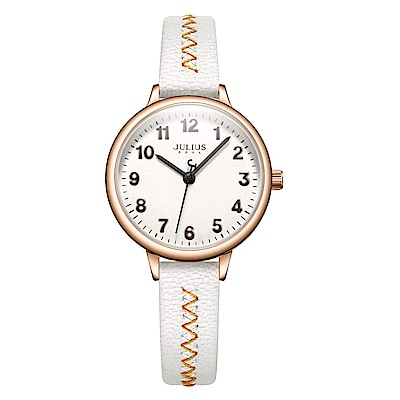 JULIUS聚利時 編織幸福簡約時尚腕錶-時尚白/29mm