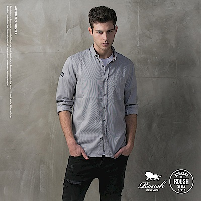 ROUSH (Slim Fit)小領片合身版條紋襯衫 (2色)