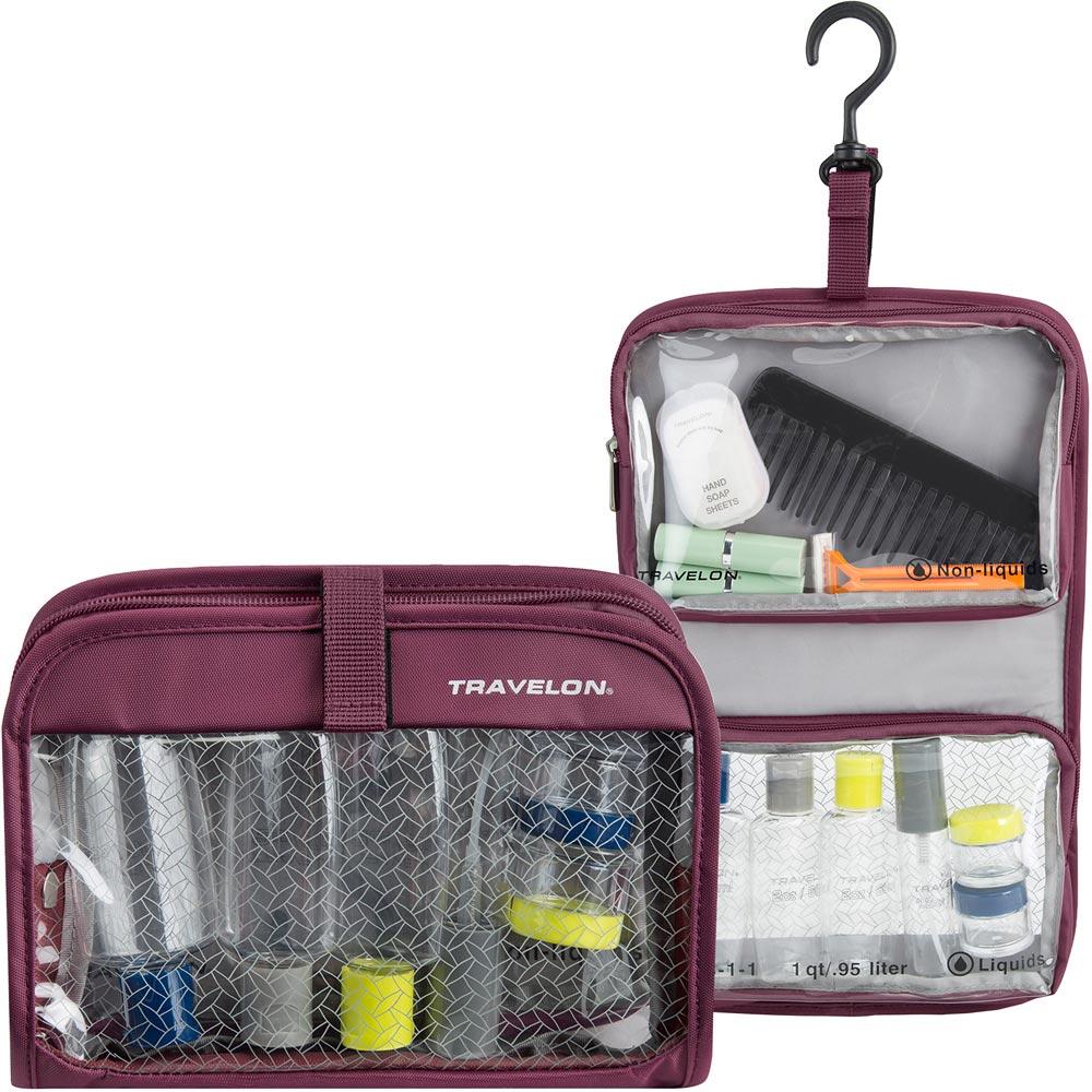 TRAVELON 掛式盥洗包+分裝瓶罐6件組(紫)