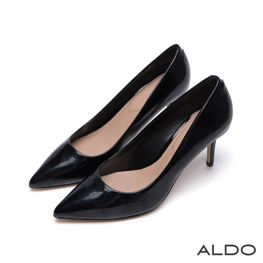 ALDO 小資女孩首選原色亮面尖頭細高跟鞋~尊爵黑色