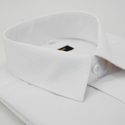 金‧安德森 時尚白暗紋類絲質窄版長袖襯衫