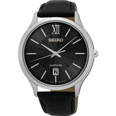 SEIKO 城市簡約美學時尚腕錶(SGEH53P2)-黑/42mm