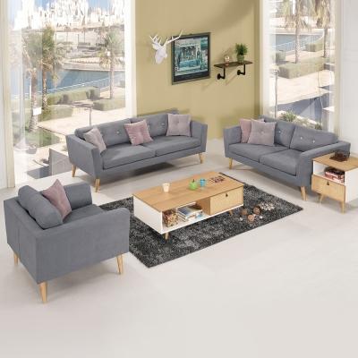 Bernice-喬威斯灰色布沙發椅組(1+2+3人座)(送抱枕)