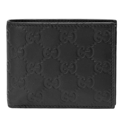 GUCCI 經典Guccissima GG壓紋小牛皮折疊短夾(黑色/8卡)