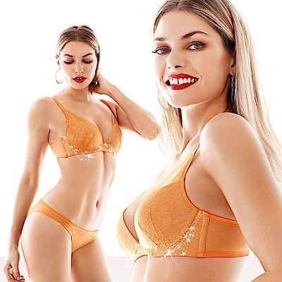 黛安芬-輕呼吸花漾V系列 B-C罩杯內衣(綻放橘)