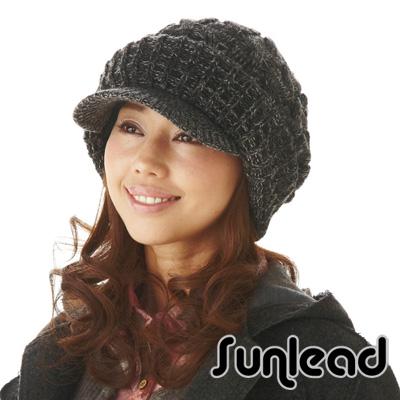 【Sunlead】保暖防寒護耳。小顏效果護髮美型針織貝蕾帽 (黑灰色)