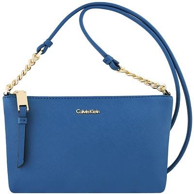 Calvin Klein 土耳其藍色防刮皮革鍊帶斜背包