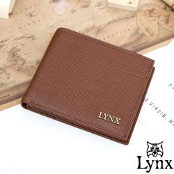 Lynx - 經典80復古風真皮系列8卡1照左右翻短夾-復古咖