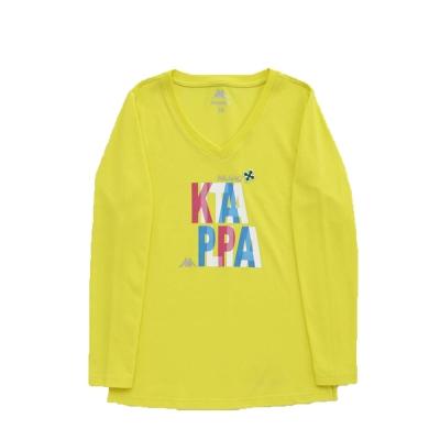 KAPPA義大利女吸濕排汗速乾彩色圓領長袖衫 清黃(米蘭)