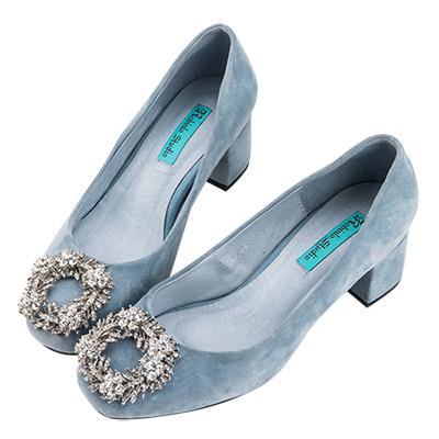 Robinlo Studio 甜美璀璨馬卡龍麂皮粗跟鞋 藍色