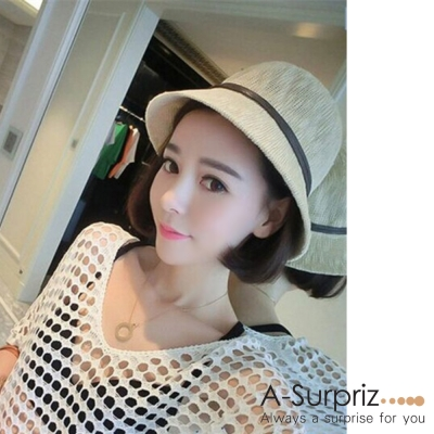 A-Surpriz-典雅皮線蝴蝶結遮陽帽-米白