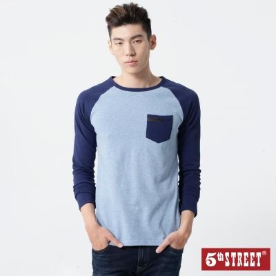 5th STREET 簡約印花拉克蘭袖T恤-男-土耳其藍