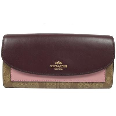 COACH 馬車LOGO撞色皮革PVC扣式長夾.駝/紫紅